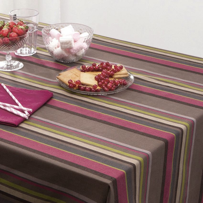 Nappe rectangulaire l240 cm rayure choco taupe nappe de table eminza Linge de table luxe