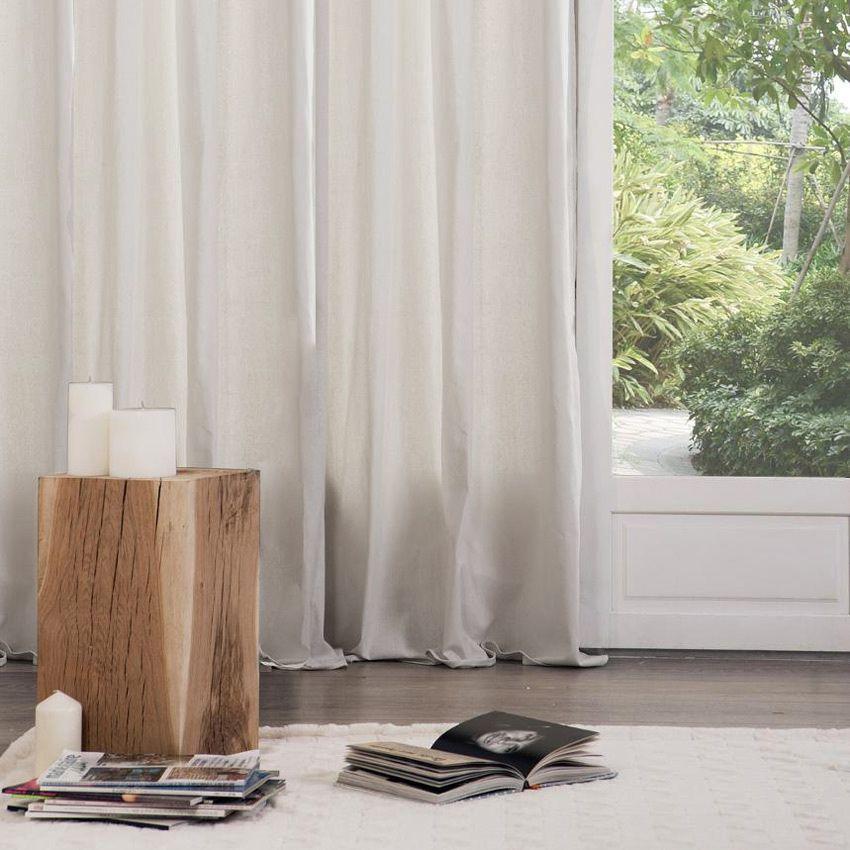 paire de rideaux tamisants 135 x h240 cm lina ivoire rideau tamisant eminza. Black Bedroom Furniture Sets. Home Design Ideas