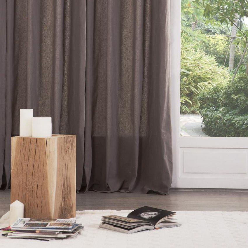 paire de rideaux tamisants 135 x h240 cm lina taupe rideau tamisant eminza. Black Bedroom Furniture Sets. Home Design Ideas