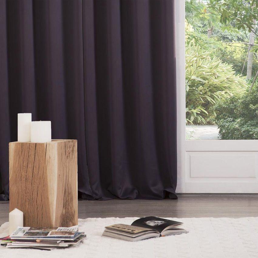 paire de rideaux occultants 135 x h240 cm uni aubergine. Black Bedroom Furniture Sets. Home Design Ideas