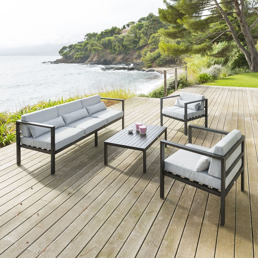 salon de jardin figari gris clair 5 places salon de. Black Bedroom Furniture Sets. Home Design Ideas