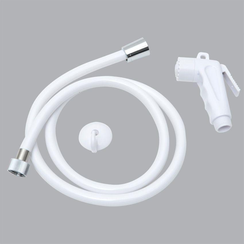 kit flexible et douchette de toilettes blanc flexible pommeau de douche eminza. Black Bedroom Furniture Sets. Home Design Ideas