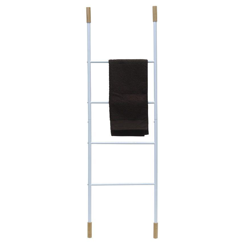 Porte serviette echelle bambou et m tal blanc porte - Echelle porte serviette salle de bain ...