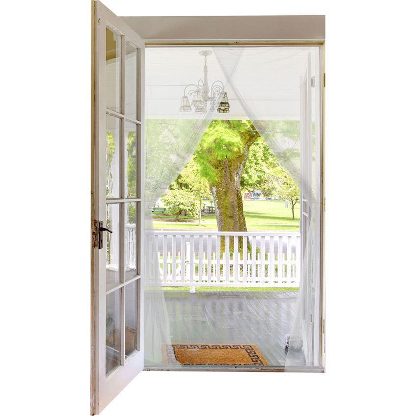 Kit rideau de porte moustiquaire blanc store - Rideau pour porte d entree ...