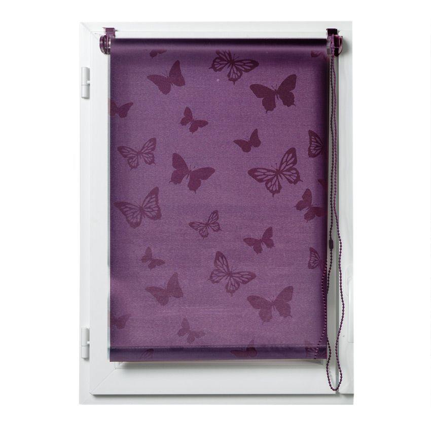 Store enrouleur tamisant 45 x h180 cm papillons for Interieur aubergine
