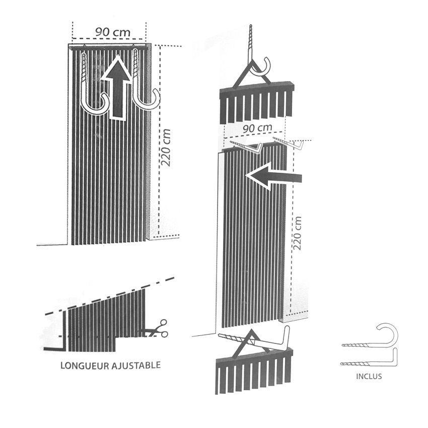 rideau de porte 90 x h220 cm lani res pvc gris rideau de porte eminza. Black Bedroom Furniture Sets. Home Design Ideas