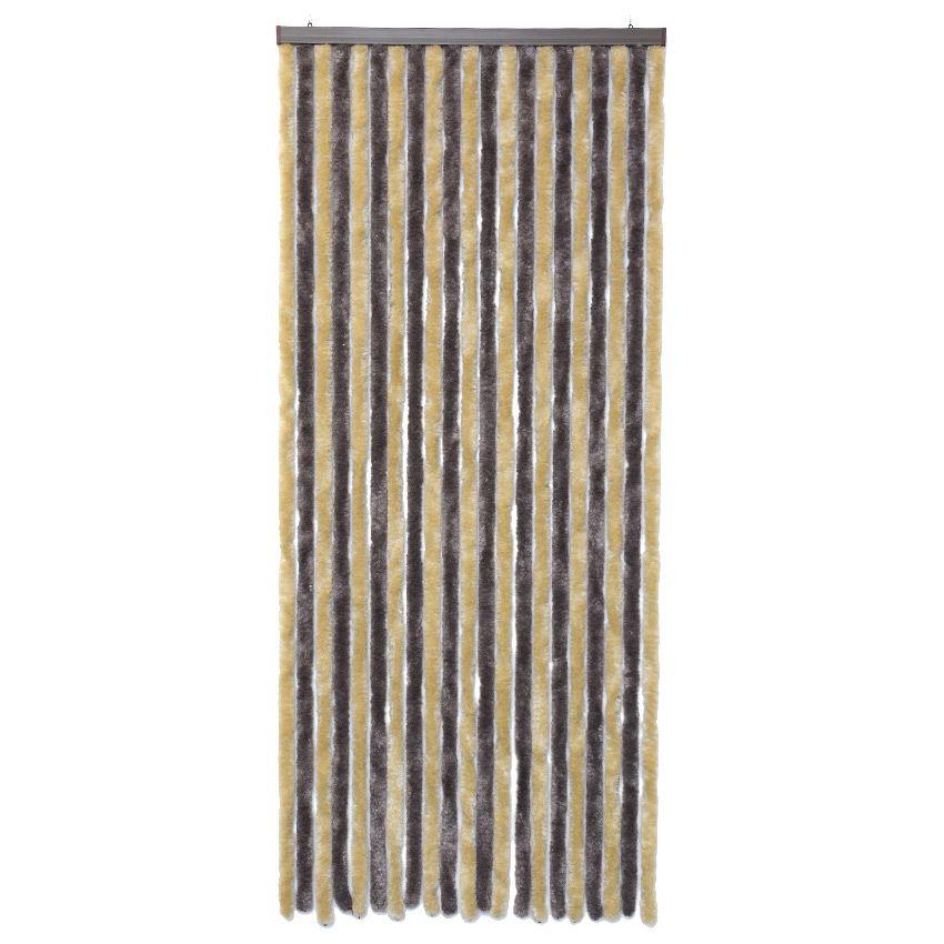 Rideau de porte 90 x h210 cm chenille taupe et beige for Rideau porte fenetre exterieur