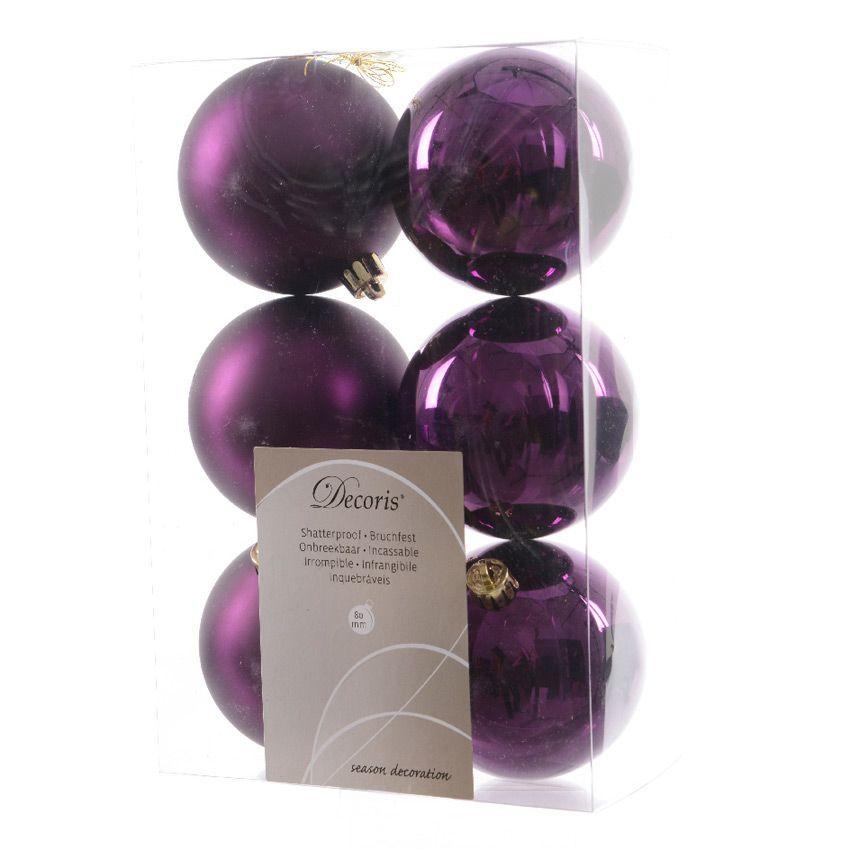 lot de 6 boules de no l d80 mm alpine violet boule de no l eminza. Black Bedroom Furniture Sets. Home Design Ideas