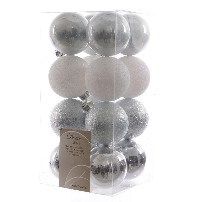 lot de 16 boules de no l d60 mm alpine relief bleu ciel boule de no l eminza. Black Bedroom Furniture Sets. Home Design Ideas