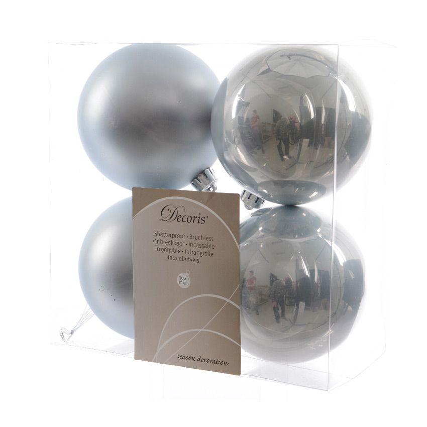 lot de 4 boules de no l d100 mm alpine bleu ciel boule de no l eminza. Black Bedroom Furniture Sets. Home Design Ideas