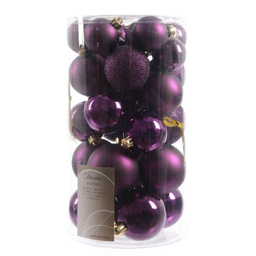 lot de 30 boules de no l assorties alpine violet boule de no l eminza. Black Bedroom Furniture Sets. Home Design Ideas