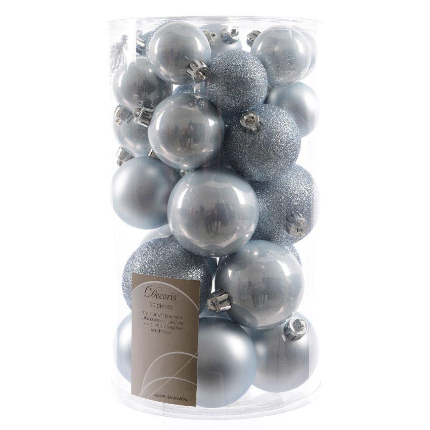 lot de 30 boules de no l assorties alpine bleu ciel boule de no l eminza. Black Bedroom Furniture Sets. Home Design Ideas