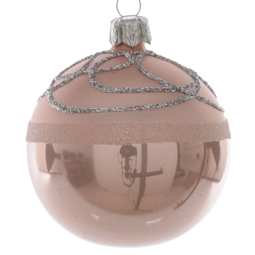 lot de 6 boules de no l d80 mm arabesque rose poudr boule de no l eminza. Black Bedroom Furniture Sets. Home Design Ideas