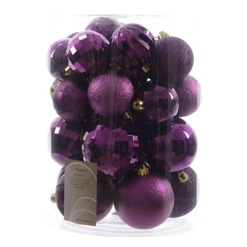 lot de 30 boules de no l unies mix violet boule de no l eminza. Black Bedroom Furniture Sets. Home Design Ideas