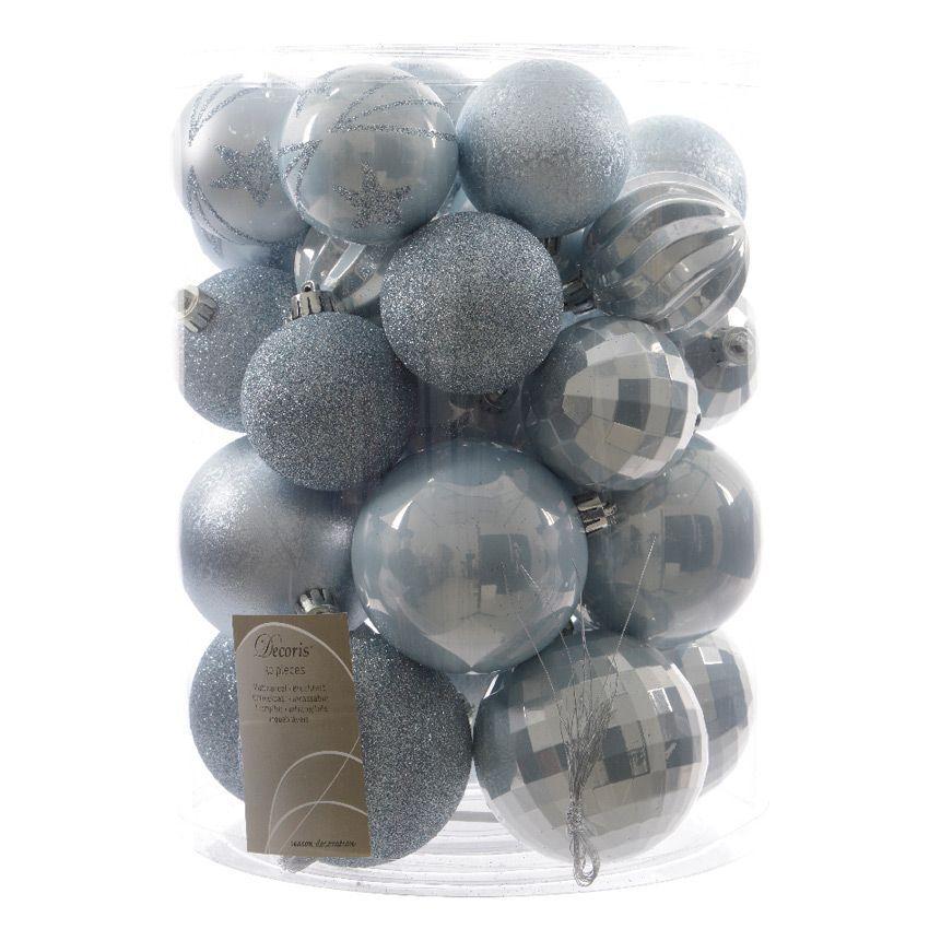 lot de 30 boules de no l unies mix bleu ciel boule de no l eminza. Black Bedroom Furniture Sets. Home Design Ideas