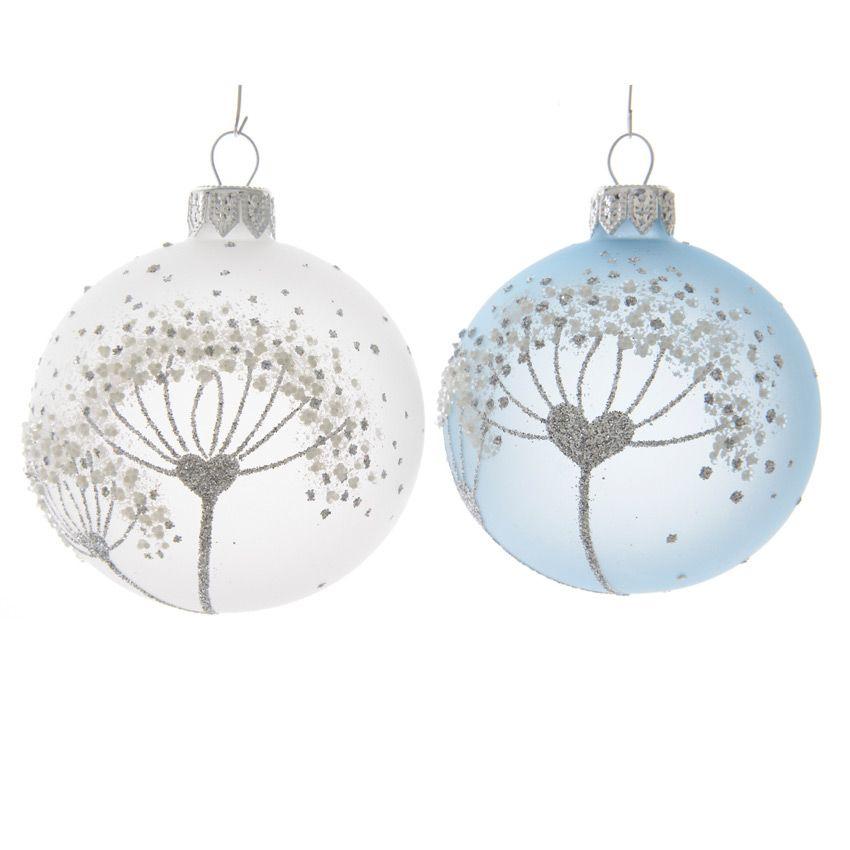 lot de 6 boules de no l d80 mm fleur givr e bleu ciel boule de no l eminza. Black Bedroom Furniture Sets. Home Design Ideas