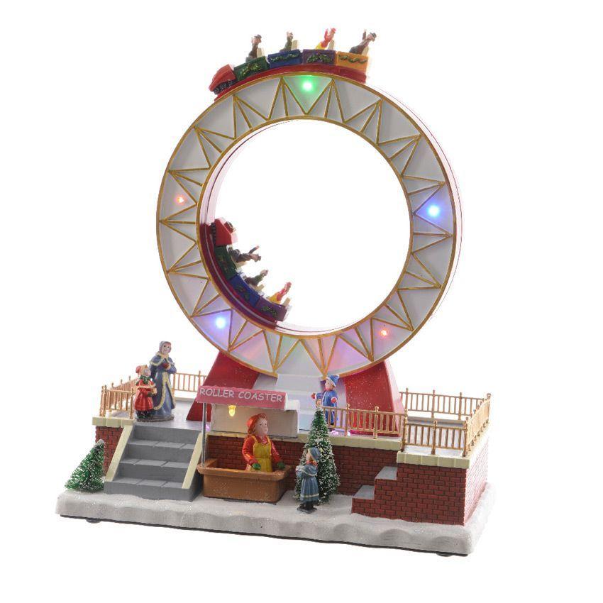 Grande roue lumineuse et musicale montagnes russes for Deco village de noel
