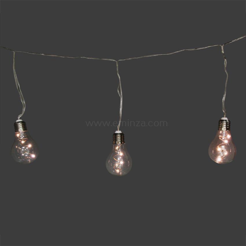 Guirlande lumineuse ampoule blanc chaud 24 led guirlande for Led a pile pour deco