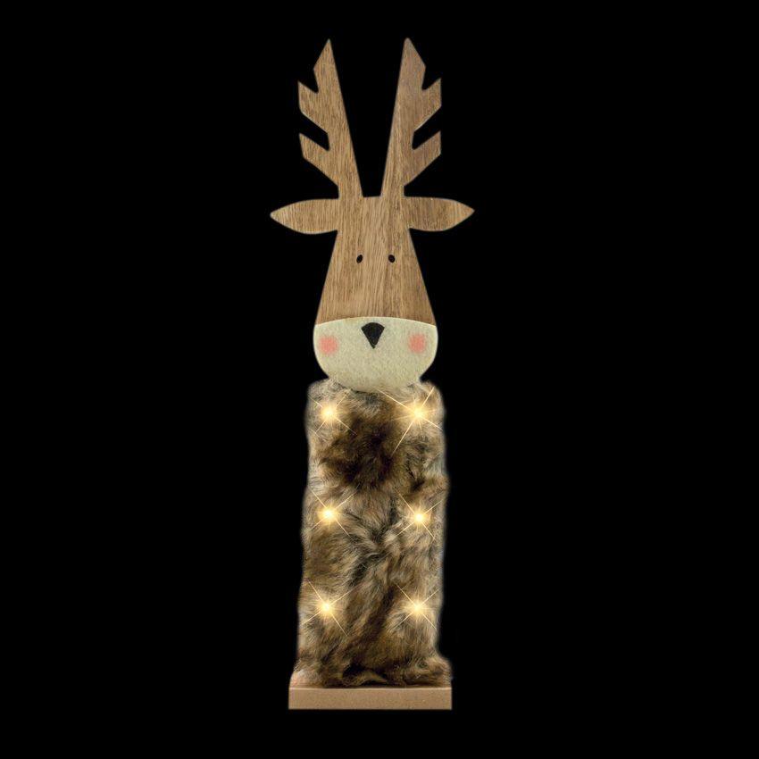 Renne en bois lumineux blanc chaud 6 led silhouette lumineuse eminza - Renne de noel en bois ...