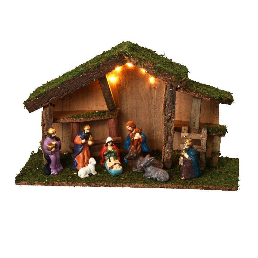 Cr che de no l lumineuse compl te sainte dominique for Decoration fenetre creche
