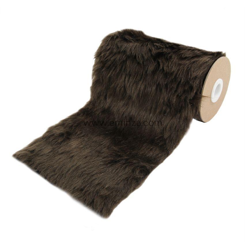 chemin de table en fausse fourrure chocolat linge de table eminza. Black Bedroom Furniture Sets. Home Design Ideas