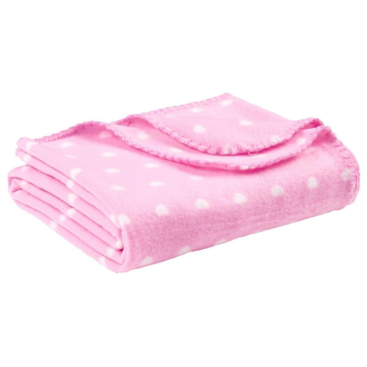 plaid polaire 150 cm coeur rose p le plaid cocooning. Black Bedroom Furniture Sets. Home Design Ideas