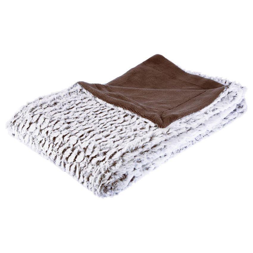 plaid fausse fourrure 160 cm douceur taupe plaid. Black Bedroom Furniture Sets. Home Design Ideas