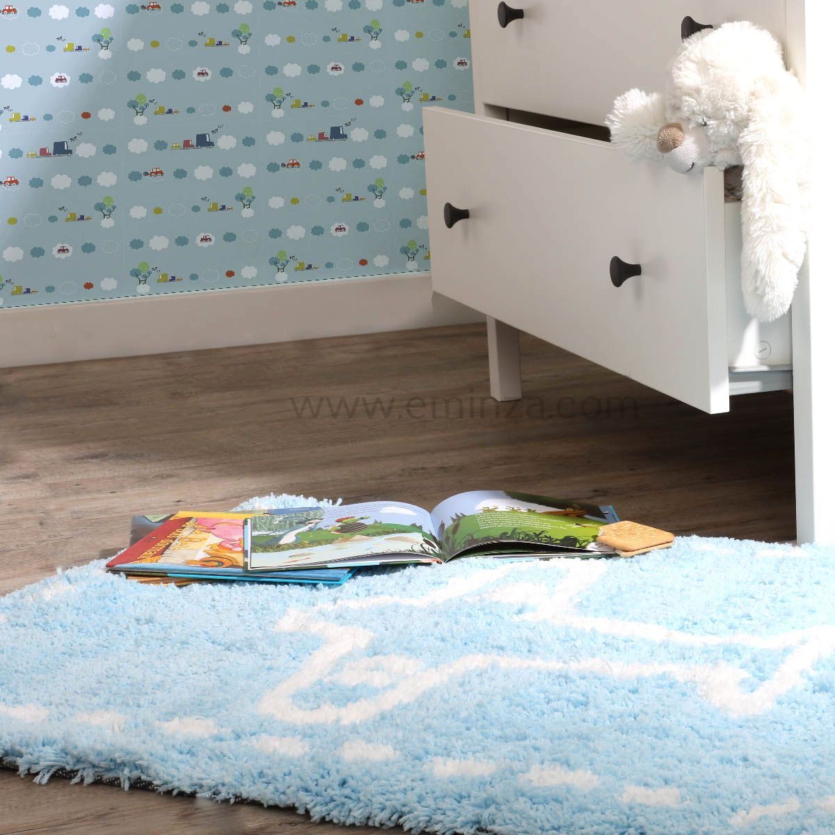tapis microfibre 90 cm enfant bleu tapis de chambre salon eminza. Black Bedroom Furniture Sets. Home Design Ideas