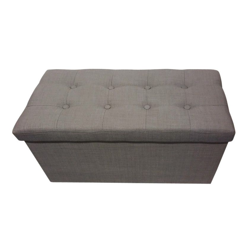pouf de rangement double lysandre taupe coussin de sol et pouf eminza. Black Bedroom Furniture Sets. Home Design Ideas