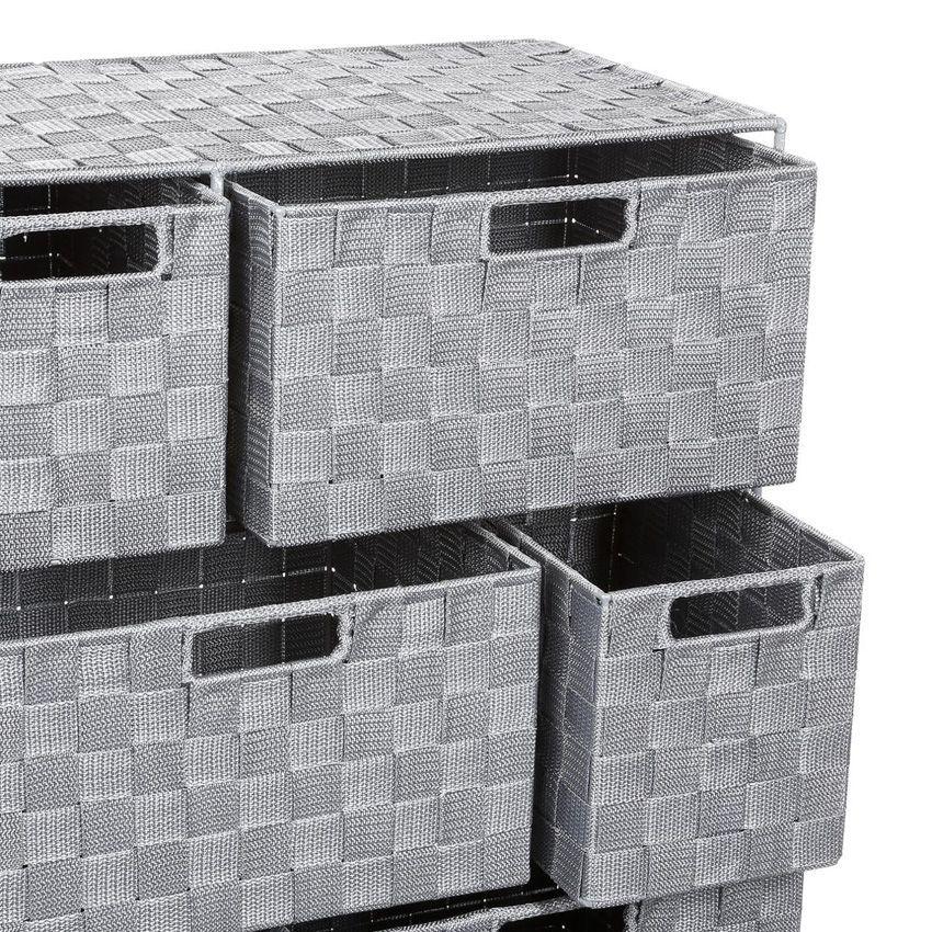 Meuble rangement 6 paniers gris meuble bas eminza for Meuble bas salle de bain gris