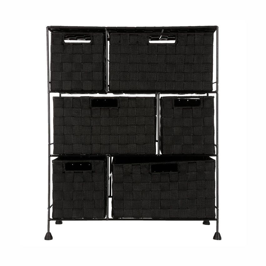 meuble rangement 6 paniers noir meuble bas eminza. Black Bedroom Furniture Sets. Home Design Ideas