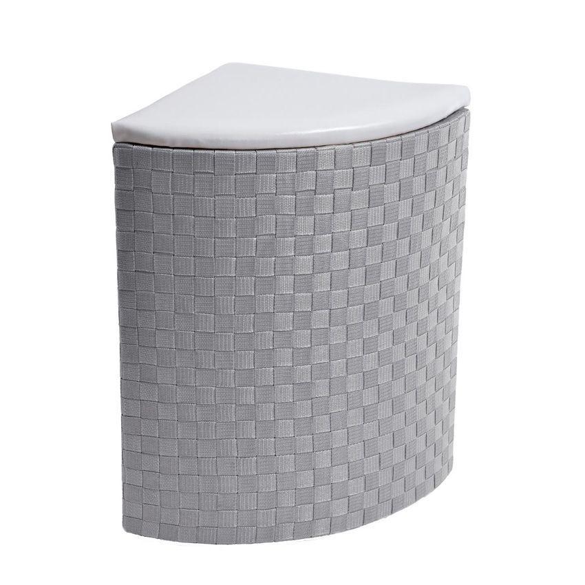 lot de 2 paniers linge d 39 angle gris panier linge. Black Bedroom Furniture Sets. Home Design Ideas