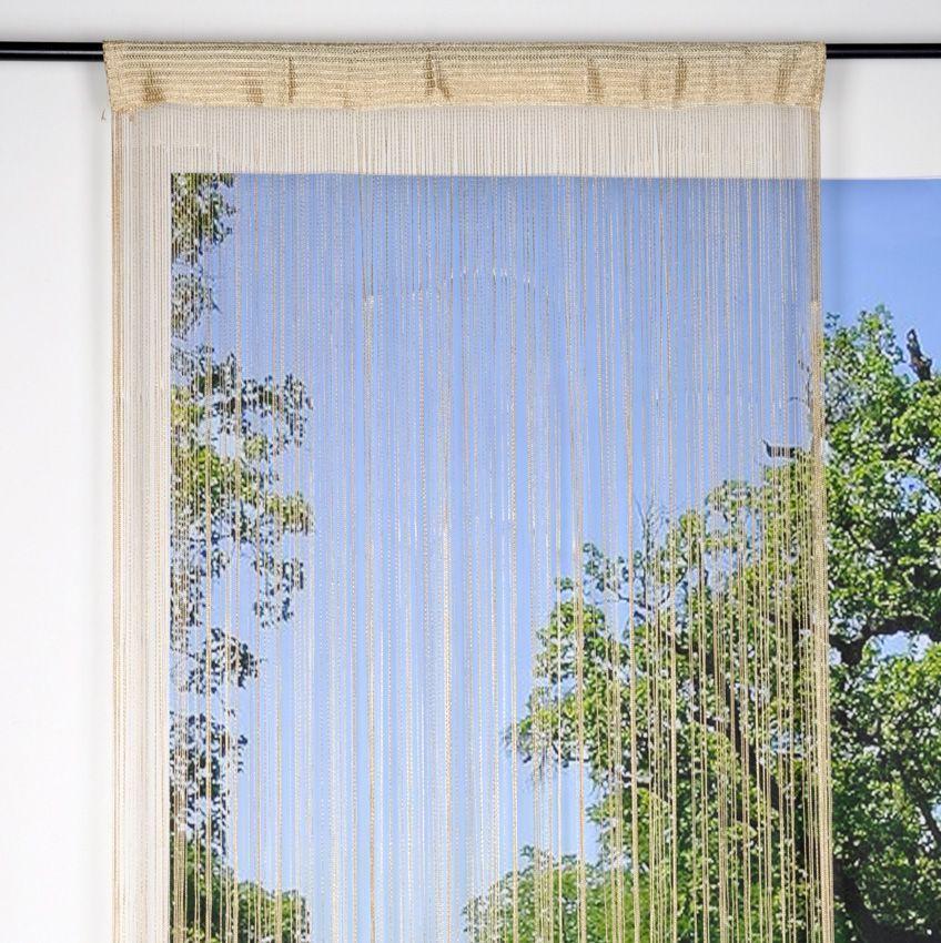 rideau de fil 90 x h200 cm mah champagne rideau de. Black Bedroom Furniture Sets. Home Design Ideas