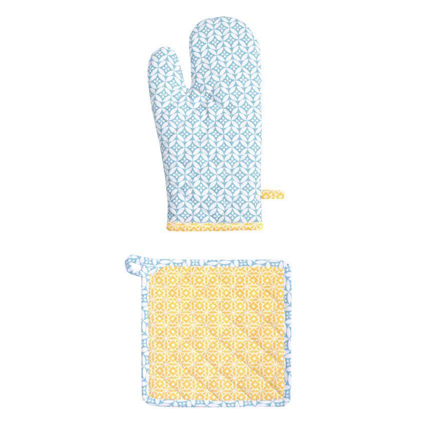 Gant et manique geok jaune et bleu accessoires cuisine for Accessoire cuisine jaune