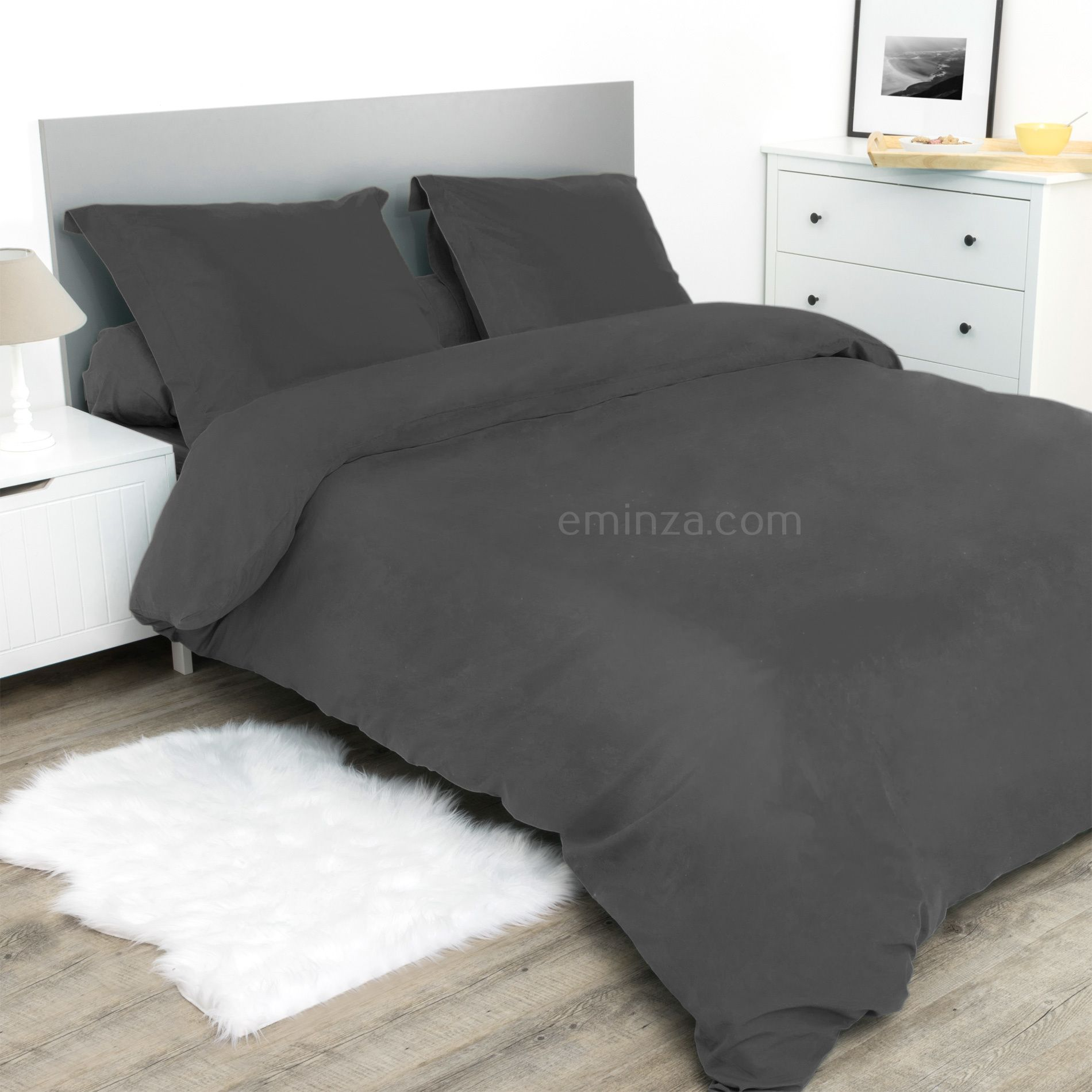 drap housse 180 cm confort anthracite drap housse eminza. Black Bedroom Furniture Sets. Home Design Ideas