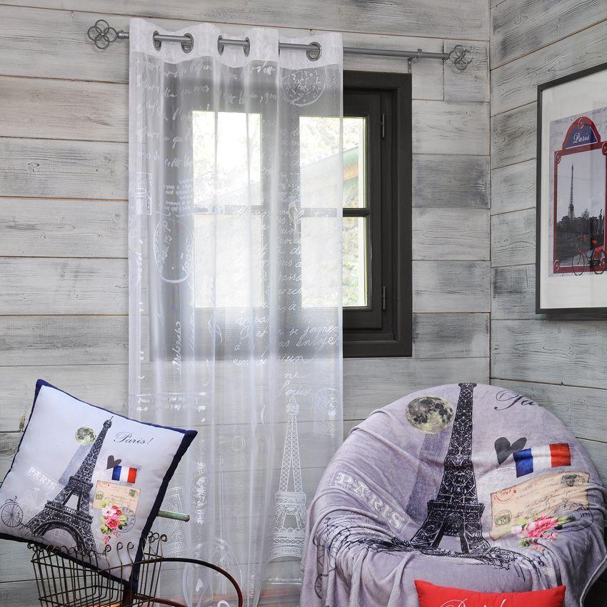 voilage 135 x h260 cm mon paris blanc voilage eminza. Black Bedroom Furniture Sets. Home Design Ideas