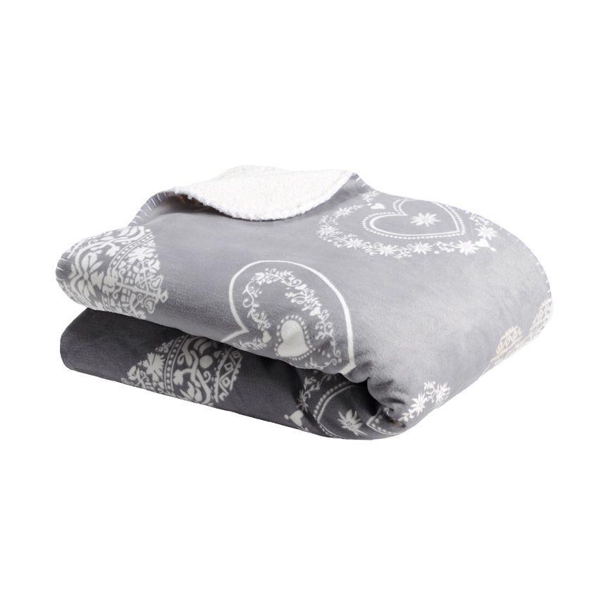 plaid polaire supeyres gris plaid cocooning eminza. Black Bedroom Furniture Sets. Home Design Ideas