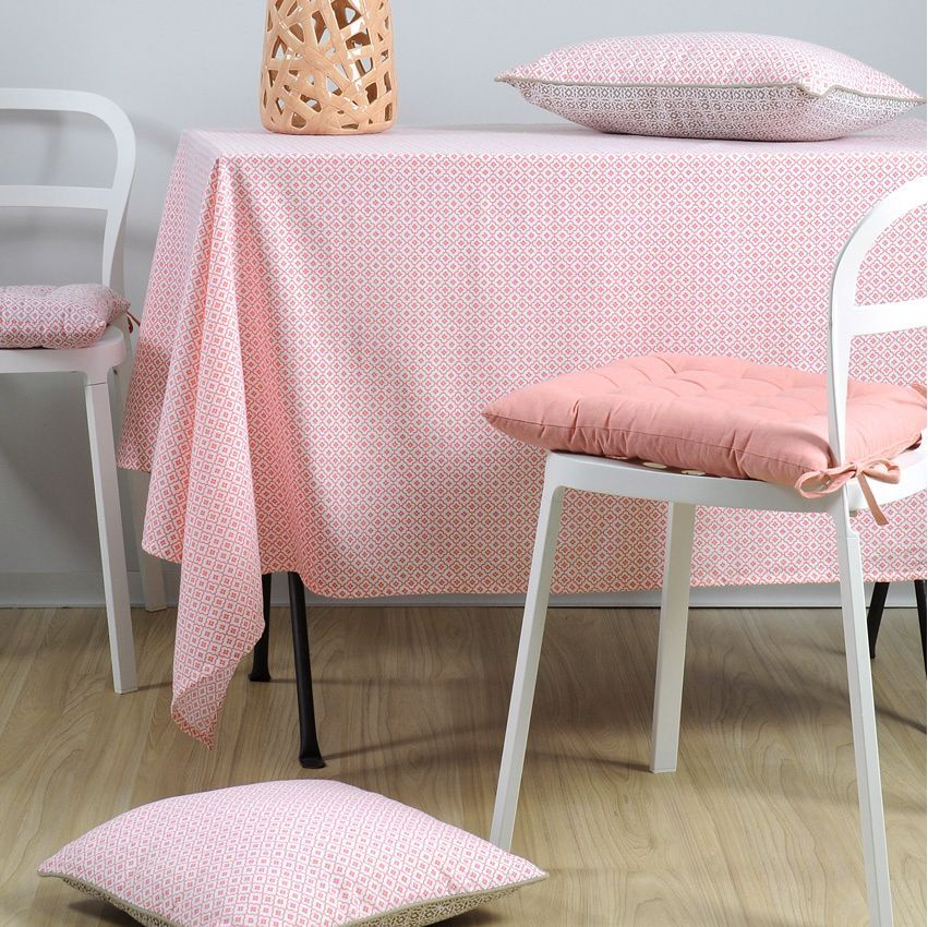 nappe carr e 150 cm geok rose nappe de table eminza. Black Bedroom Furniture Sets. Home Design Ideas