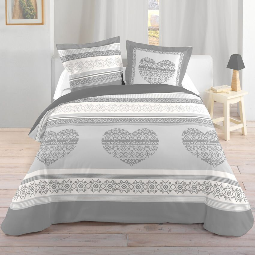 parure de draps 4 pi ces nevegal gris parure de draps eminza. Black Bedroom Furniture Sets. Home Design Ideas