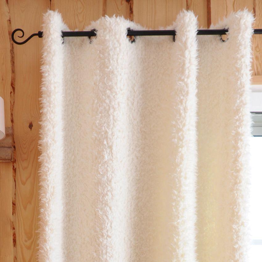 rideau 135 x h250 cm mouton blanc rideau tamisant eminza. Black Bedroom Furniture Sets. Home Design Ideas