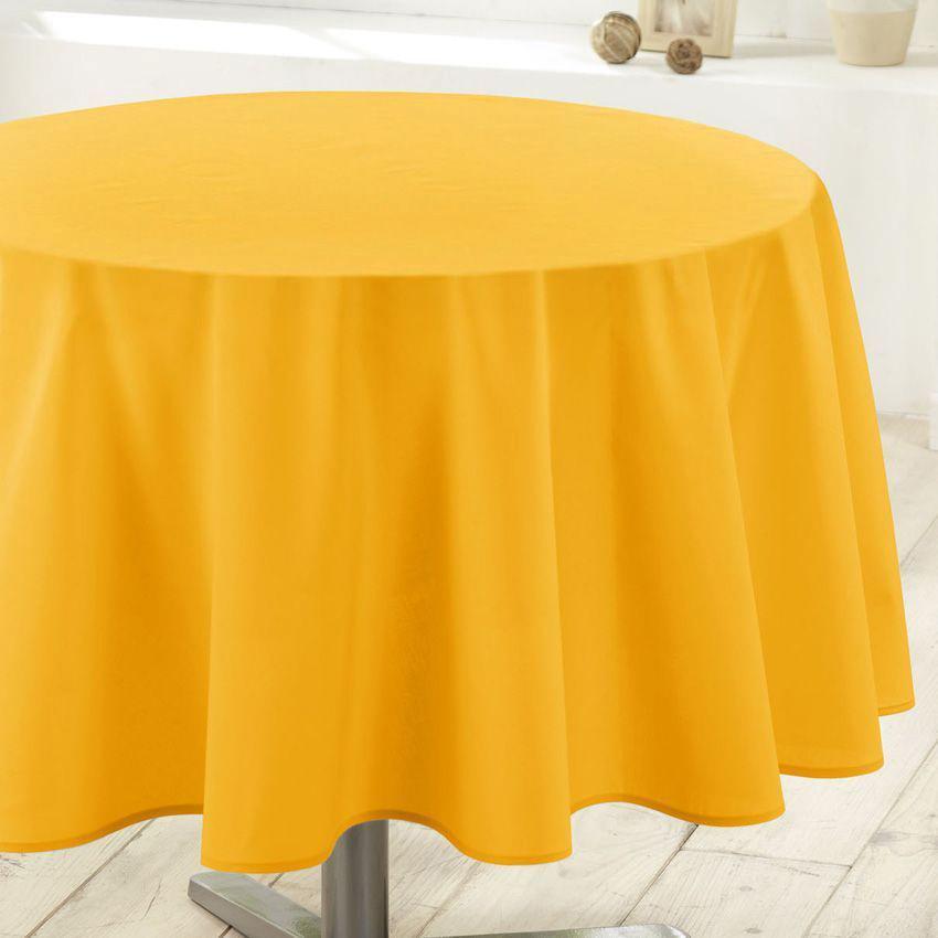 Nappe ronde d180 cm essentiel jaune nappe de table eminza - Nappe enduite maison du monde ...