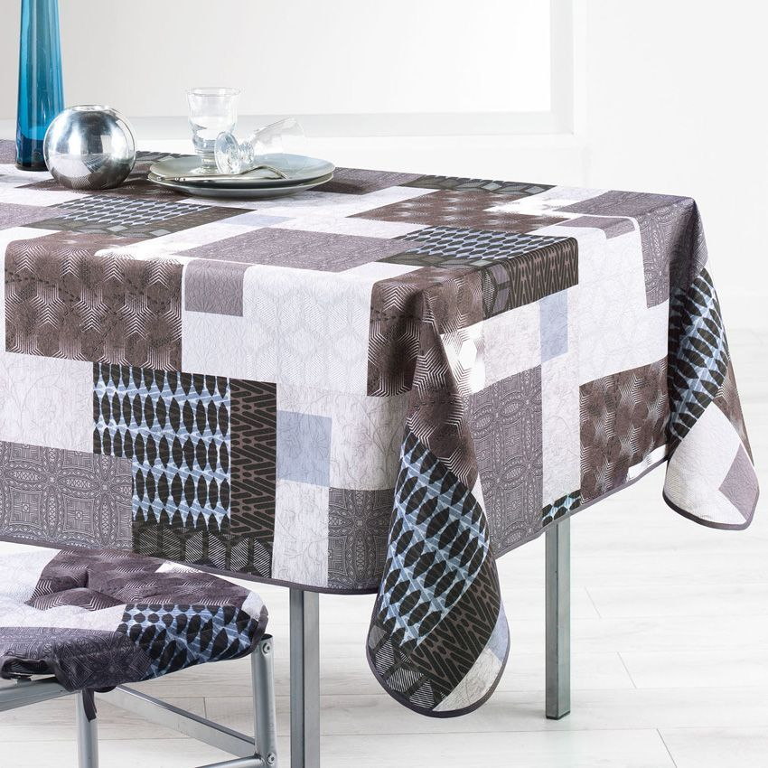 Nappe rectangulaire l240 cm lanix taupe nappe de table - Nappe table rectangulaire ...