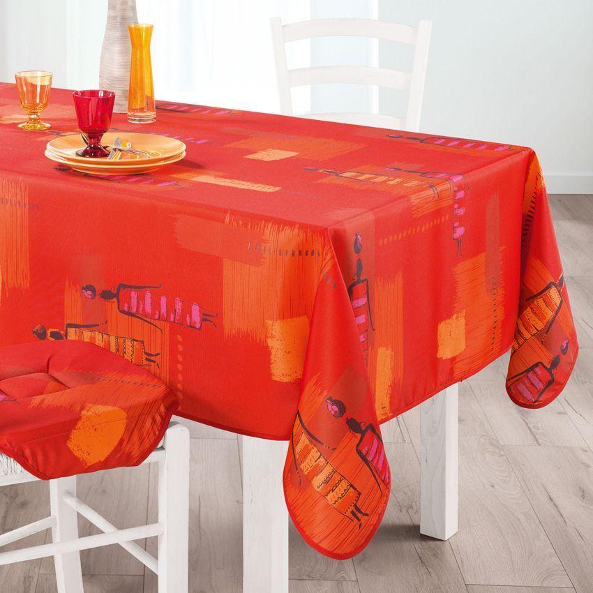 Nappe rectangulaire l240 cm jaya orange nappe de table eminza - Nappe de table rectangulaire ...