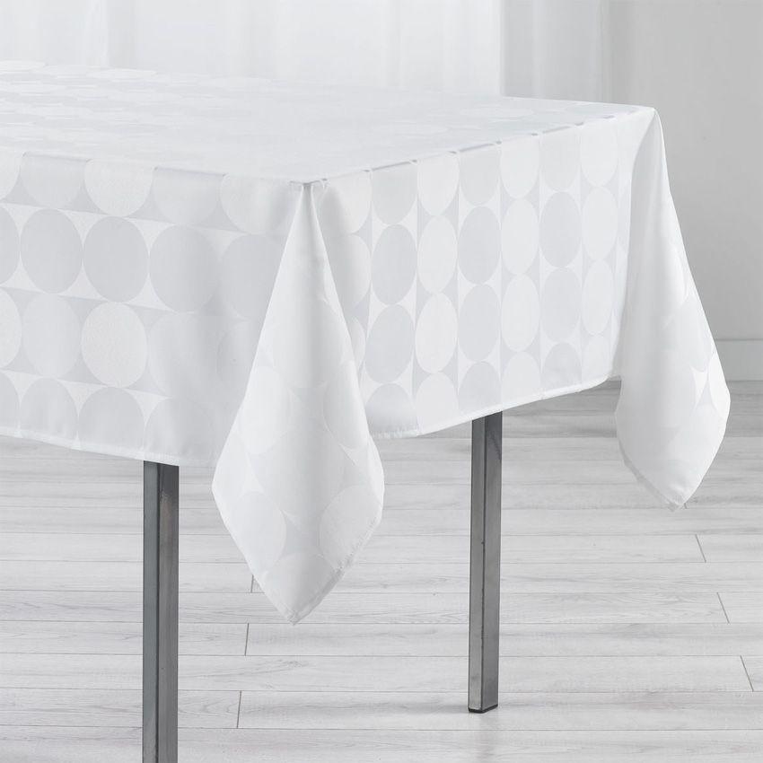nappe rectangulaire l250 cm jacquard com te blanc nappe de table eminza. Black Bedroom Furniture Sets. Home Design Ideas