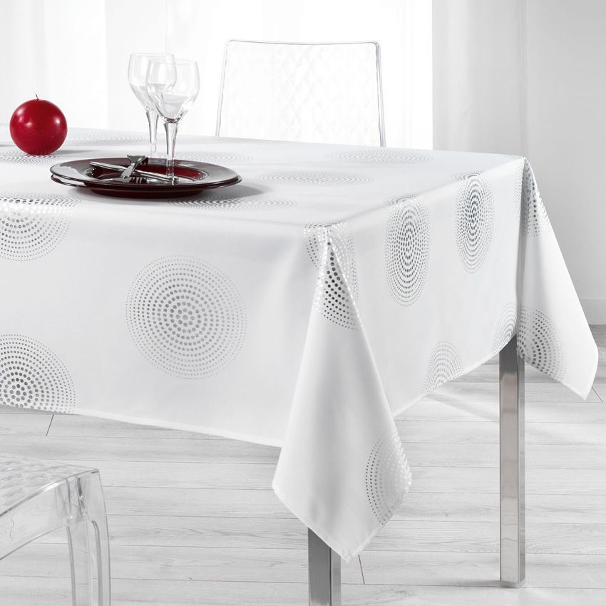 nappe rectangulaire l240 cm atome blanc nappe de table eminza. Black Bedroom Furniture Sets. Home Design Ideas