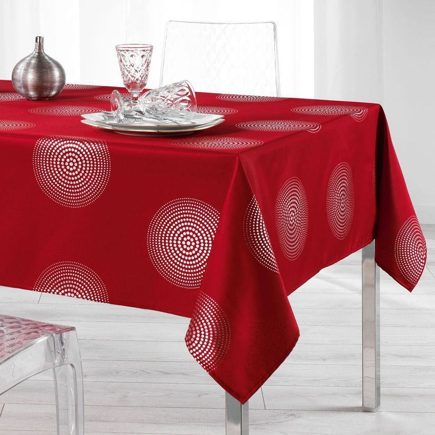 nappe rectangulaire l300 cm atome rouge nappe de table eminza. Black Bedroom Furniture Sets. Home Design Ideas