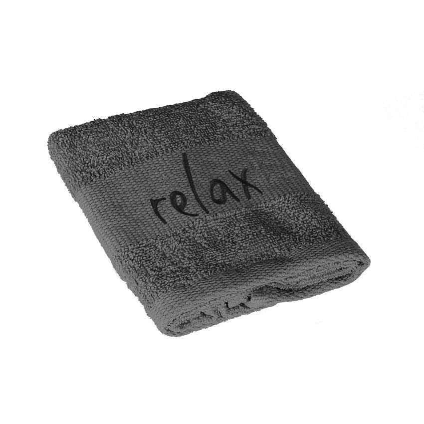 serviette de bain 30 x 50 cm brod s relax anthracite serviette de bain eminza. Black Bedroom Furniture Sets. Home Design Ideas