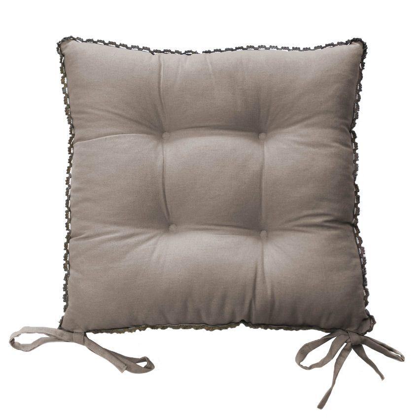 Coussin de chaise dentelle f mina taupe galette et for Galette de chaise taupe