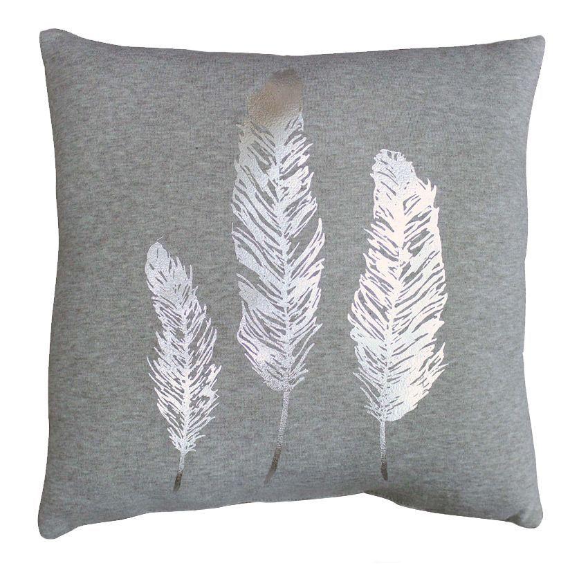 coussin trio plumes gris coussin et housse de coussin eminza. Black Bedroom Furniture Sets. Home Design Ideas