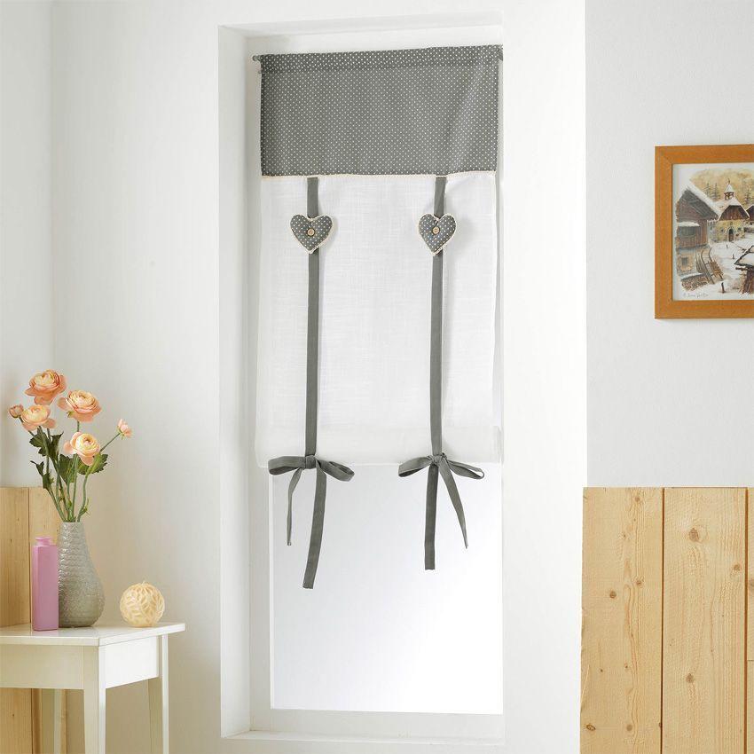 store voilage droit 60 cm fanny gris et blanc voilage eminza. Black Bedroom Furniture Sets. Home Design Ideas